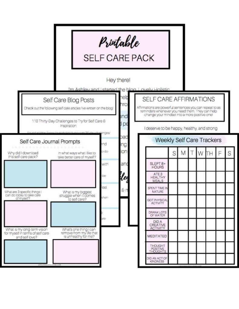 Free Printable Self Care Worksheets Pack (Weekly Tracker ...
